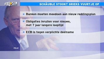 RTL Z Nieuws 11:00 Ruzie Duitsland en ECB over laten meebetalen banken aan reddingsplan Grieken