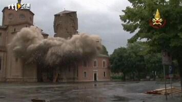 RTL Nieuws Onveilige Italiaanse kerktoren opgeblazen