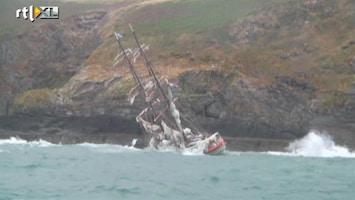 RTL Nieuws Spectaculaire beelden: Nederlands zeilschip zinkt in Ierland