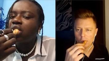 Songfestivaldeelnemers proberen Nederlandse hapjes