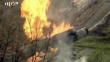 RTL Nieuws Trein met ethanoltanks in brand