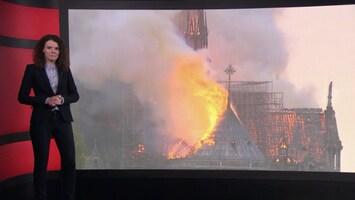 De lichtpuntjes van de brand in de Notre Dame