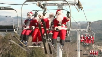 RTL Nieuws 250 kerstmannen skiën voor geld