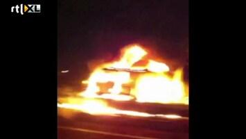 RTL Nieuws Automobilist filmt brandende tankauto A20