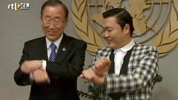RTL Nieuws Ban Ki Moon en Psy doen een gangnam dansje