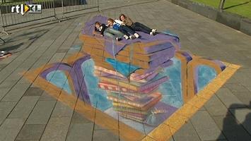 RTL Nieuws Driedimensionaal straattekenen in Lelystad