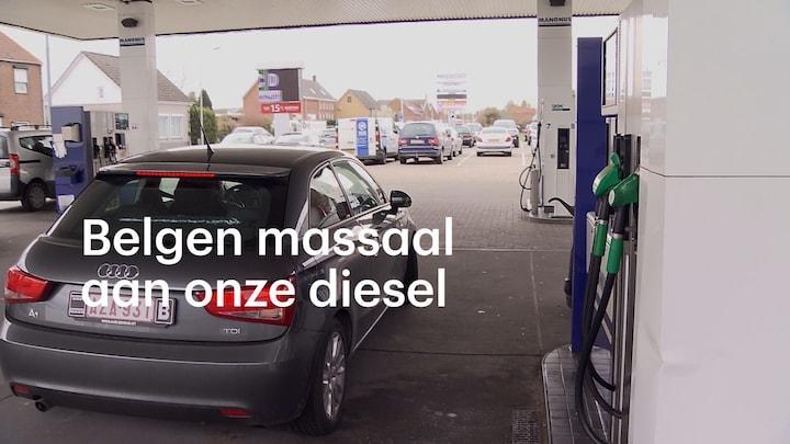 Onze diesel is goedkoper dus tanken de Belgen massaal hier
