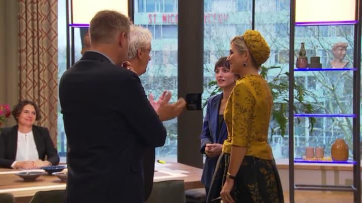 Koningin Maxima kwam een praatje maken in de nieuwe 5 Uur Live en Koffietijd-studio